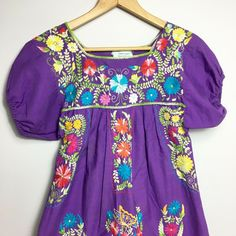Vintage 80's Embroidered Mexican Dress Purple Bright Colorful #NotBranded #HouseDress #Casual Mexican Dresses, Nerd Love, House Dress, Daughter Love, Purple Dress, Vintage Dresses, Dress Outfits, Floral Tops, Ebay Clothing