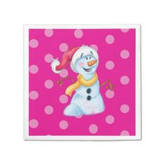 cute cartoon napkin snow-girl standard cocktail napkin