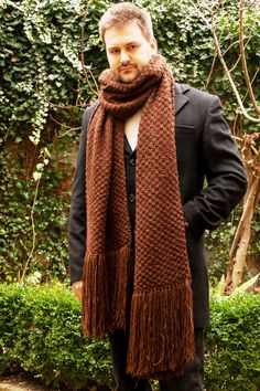 Huge Hand Knit Mens Scarf. Winter Man Extra Long Extra Wide Wool Scarf Big Cable Knit Brown Scarf Gift For Him Winter Present Men's Fashion