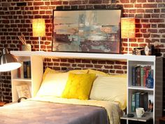 Tiered storage crates were transformed into a set of nightstands then a shelf was made to span the top of the two crates and frame the bed. Design by Dylan Eastman.
