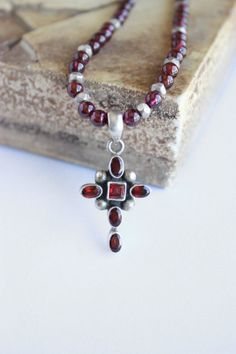 Exquisite Garnet and Sterling Silver Cross Necklace by MAJIdesigns, $69.00