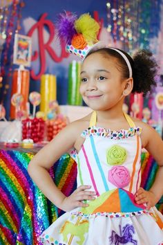 Carousel couture outfit exclusively designed by Nevaeh's Baby Couture for Soirée Event Design Sparkle Rainbow party. #NevaehsBabyCouture