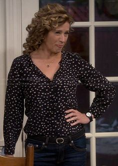 WornOnTV: Vanessa's black and white heart print blouse on Last Man Standing Beautiful Outfits, Cool Outfits, Fashion Outfits, Nancy Travis, Vanessa Black, Black And White Heart, Last Man Standing, Black Long Sleeve Dress, Heart Print