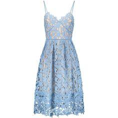 Cami Crochet Flower Midi Dress Azure ($46) ❤ liked on Polyvore featuring dresses, blue camisole, calf length dresses, midi dress, camisole dress and crochet midi dress