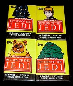 """Ah, unopened packs of Topps """"Return of the Jedi"""" cards.  This brings back lots of memories...  10 cards per pack, one rock-hard stick of gum, one card completely ruined because of the wax sealing the pack...  Yup, those were the good old days."""