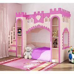 Кровать замок для девочки с горкой
