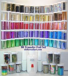 A view of the 80 Foil Set from dollarnailart.com complete with 2 1/4oz adhesives and a 2oz refill. #dollarnailart, #transferfoil, #nailart