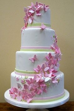 4 tiered cake. Girls custom cake with butterflies