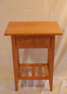 Cherry Shaker Style Nightstand / End Table With Drawer And Shelf