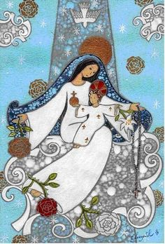 """""""Our lady is always close to us,especially when we feel the weight of with all its problems"""" -Pope Fancis- Blessed Mother Mary, Blessed Virgin Mary, Religious Icons, Religious Art, Christian Art, Christian Images, Hail Holy Queen, Queen Of Heaven, Mama Mary"""