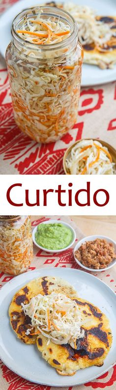 Curtido - added all of the optional stuff (only jalapeno) and a pinch of cumin A lightly fermented cabbage relish with carrots and onions that is common in Central American countries. Mexican Dishes, Mexican Food Recipes, Vegan Recipes, Cooking Recipes, Salad Recipes, Fermented Cabbage, Fermented Foods, Curtido Recipe, Chimichurri