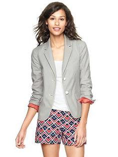 This is a really cute gray blazer. Gap & BR are doing 30% off through tomorrow, but I'm sure there will be other sales before April. Corded stripe academy blazer | Gap