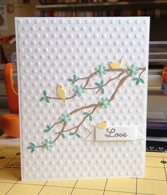 Memory Box Woddland Branch & Resting Birds.... card by Kim Akers