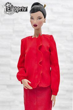 ELENPRIV red silk blouse for Fashion royalty FR2 and similar body size dolls #Elenpriv