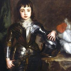 """The next of our #colourfulstories has been chosen by our Director, Lisa Gee.  She told us about her favourite piece in The Portland Collection, Boy Prince by Van Dyck. """"I love this work because he's a little boy who looks so innocent. The picture was painted before the country was plunged into Civil War, before his father was beheaded and he was sent into exile. He's so recognisable as a little boy and yet he's wearing a full set of armour and is quite literally carrying a huge… Full Set, Boys Who, Little Boys, Portland, Armour, Lisa, Prince, Father, Van"""