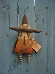 Primitive CANDY CORN WITCH Halloween ORNAMENT Doll #NaivePrimitive