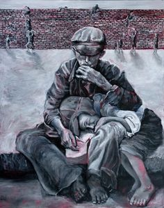art of the holocaust | Judith Dazzio painting - Holocaust Series-  Warsaw Ghetto - Brothers ...