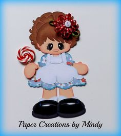 ELITE4U lollipop girl kid summer premade paper piecing scrapbooking page blue   ~ Paper Creations by Mindy