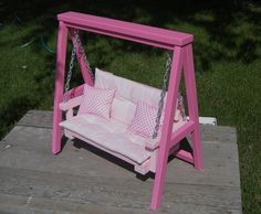 Doll Swing Set with Cushion & Throw Pillows for American Girl or 18-inch Doll. $85.00, via Etsy.