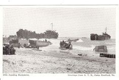 """1950 Era Vintage Military Postcard of Landing Equipment #1306 is a general view of D-Day on the beach of one of the Allies objectives. The L. S. T. is playing a vital part in the success of getting heavy equipment on shore for the early waves of invasion. U. S. Navy Photo. On the front right corner, """"Greetins from A. T.B., Camp Bradford, VA. The postcard is distributed by W. R. Thompson & Co, richmond, Virginia. The card measures 3-1/2"""" x 5-1/2"""" by NookCove, $2.19"""