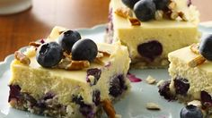 The pretzel and cookie crust is a salty contrast to the sweet blueberries and cheesecake filling in this tasty treat.