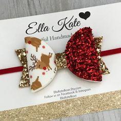 Christmas hair bow reindeer bow red glitter bow red and Handmade Hair Bows, Diy Hair Bows, Bow Hair Clips, Diy Baby Headbands, Baby Bows, Headband Baby, Diy Leather Bows, Christmas Hair Bows, Christmas Glitter