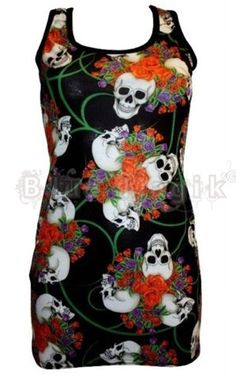 Red   Purple Roses Skulls Tattoo Floral Print Long Vest Tank Top Goth Punk  Emo bfe9109fa