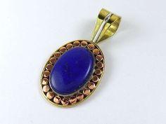 Three tone sterling silver lapis lazuli pendant