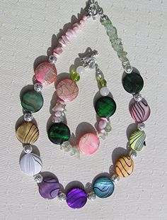 Handmade Jewelry Gift Mother of Pearl with Green Prehnite and Pink Opal Necklace
