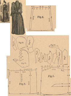Der Bazar 1889: Wintertime walking dress from Eiffel-red cloth; 1. 2. and 3. skirt drapery parts, 4. bodice's lining front part, 5. plastron in half size, 6. front lapel, 7. and 8. side gores, 9. back part in half size, 10. collar, 11. and 12. outer sleeve's lining and pouffy cover, 13. undersleeve part, 14. pouffy uppersleeve