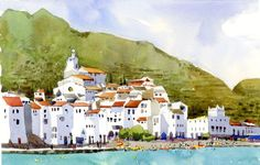 Cadaques by Shari Blaukopf Travel Sketchbook, Watercolor Sketchbook, Art Sketchbook, Watercolor Architecture, Watercolor Landscape, Watercolor Paintings, Urban Sketchers, Watercolor Techniques, Painting Inspiration