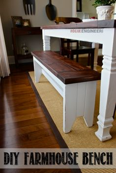 How to Make a Farmhouse Bench DIY Farmhouse Bench Plans (Free) Resin Patio Furniture, Diy Furniture Easy, Diy Furniture Plans Wood Projects, Repurposed Furniture, Rustic Furniture, Diy Projects, Furniture Dolly, Build A Farmhouse Table, Farmhouse Style
