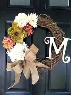 Late Summer / Early Fall Wreath , Magnolia , Hydrangea , Mum , Monogram , Monogrammed  , Fall Wreath , burlap , Southern Wreath, Wreath on Etsy, $58.00