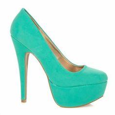 Qupid Penelope-01 Sea Green Nubuck Platform Pump Styleupgirl: Shoes
