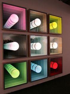 "Chul Hyun Ahn, ""Visual Echo Experiment,"" nine illuminated mirrored lightboxes, 104 x 104 x inches. Led Mirror, Mirror Art, Neon Lighting, Lighting Design, Light Luz, Infinity Mirror, Infinity Art, Light Art Installation, Illuminated Mirrors"