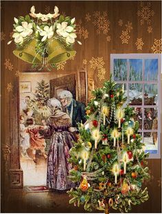 An Old Fashioned Christmas - Victorian style handcrafted Christmas Greeting Card