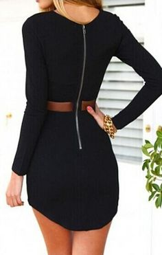 Black Long Sleeve Slim Bodycon Dress - abaday.com