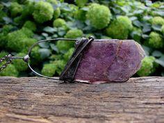 Violet Raw Lepidolite Pendant Druzy Lepidolite Necklace Tiffany Method  Crystal…