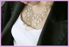 Fashion collar light gold tone necklace bib by BijoodJewelry