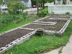 concrete raised garden beds how-to.. I'd paint the concrete blocks and also plant in the holes or fill it with something purdy.