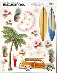Creative Imaginations Vintage Hawaiian Scrapbook Stickers are available at Scrapbookfare.