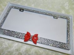 License Plate Metal Frame for US Canada Cars Proud Iowan License Plate Tag Frame Steel Metal Bling Rhinestone Crystal Auto License Plate Frame Exterior Accessories License Plate Covers & Frames