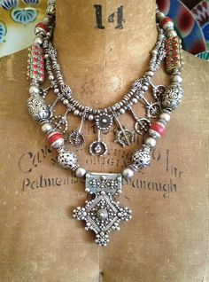Amulet UP!!! with Layers - Victoria Z Rivers Jewelry+Old Silver&Coins+Moroccan Amulets++Coral++Trade Beads