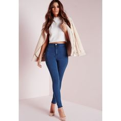 Vice High Waisted Skinny Jeans Mid Blue ($33) ❤ liked on Polyvore featuring jeans, highwaisted jeans, skinny jeans, high rise jeans, high waisted skinny jeans and blue skinny jeans