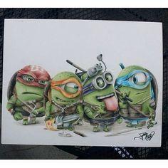 Teenage Mutant Ninja 'Minions' – Fun Drawing by Fabian Nuñez – What an ART on Inspirationde on imgfave Despicable Minions, My Minion, Minions 2014, Minion Meme, Teenage Mutant Ninja Turtles, Minion Pictures, Movies And Series, Cultura Pop, Tmnt