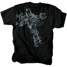 Rock Of Ages Music Cross Christian T-Shirt $15.99.. great gift for any Christian musician or worship leader/band!