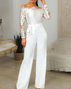 Off Shoulder Belted Lace Bodice Jumpsuit - Buy Shoes Wedding Jumpsuit, Trend Fashion, Jumpsuit With Sleeves, Jumpsuit Dress, Sequin Party Dress, Looks Chic, Lace Bodice, Beautiful Gowns, Beautiful Ladies