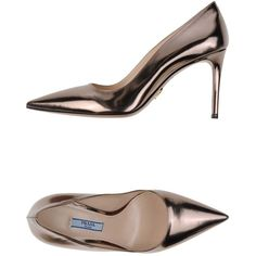 Prada Pump ($625) ❤ liked on Polyvore featuring shoes, pumps, bronze, leather sole shoes, prada shoes, prada footwear, heels stilettos and prada