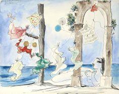 Pablo Picasso (1881-1973)  Compositon: Nu sur la plage