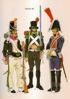 Spanish; Seville Volunteers, L to R Sevill Militia, 6th Battalion de los Voluntarios de Sevilla, Sergeant & Guardia Patria de Caballeria all c.1808